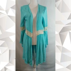 JODIFL Cardigan Tunic Top Cyan Size Small